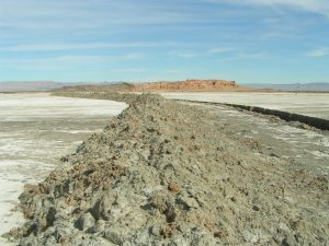 A photo of an under-construction berm on the southeast shore of the Salton Sea. The berm is being built as part of a Federal project to create shallow-water habitat near Red Hill Marina. Photo by the Sonny Bonon National Wildlife Refuge