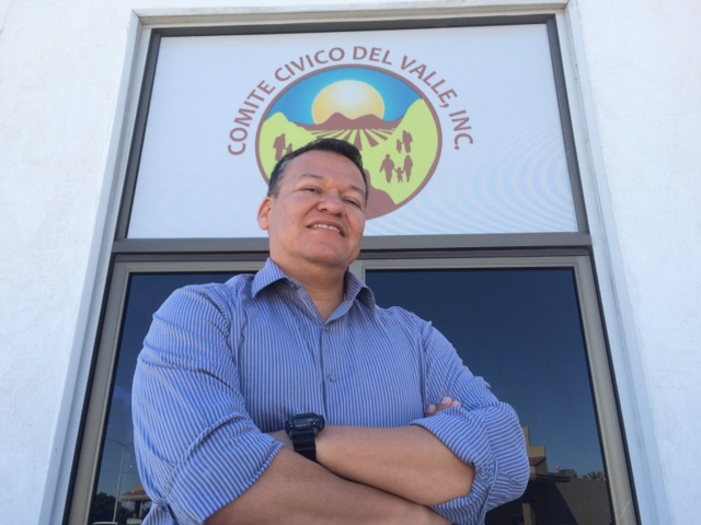 Luis Olmedo Velez is pictured in front of the office of Comite Civico Del Valle.