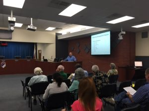 Bruce Wilcox, Assistant Secretary for Salton Sea Policy for the California Natural Resources Agency, presents the State's Salton Sea Management Program phase one during a public workshop held at the Imperial Irrigation District auditorium in El Centro on June 16.