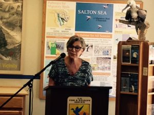 Sen. Barbara Boxer speaks to stakeholders and the media at Salton Sea National Wildlife Refuge Aug. 18 regarding the need to continue restoration efforts.